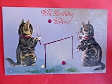Helena Maguire. Silver tone. Kittens playing tennis. Wildt & Kray 768. 1903