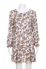 1.STATE Floral Print Keyhole Pin Up Dress Small Purple White Long Sleeve