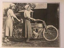 "Vintage Harley Davidson Ladies Black & White Photograph 14"" X 11"""