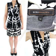 BCBG Maxazria Crossover Dress XS 6 8 Black White Slinky Stretch Formal Party