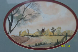 Watercolour Oval Painting of a Country Scene.