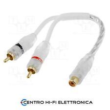 Cavo Audio Sdoppiatore RCA 1 Presa - 2 Spine contatti dorati cavo 20 Cm
