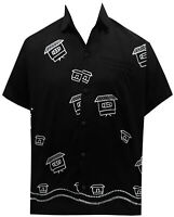 """LA LEELA Rayon Embroidery Camp Party Shirt Black 71 Large 