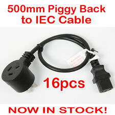16x 0.5 Metre Piggyback to IEC Plug Power Cable Lead Cord Jug Piggy Back 500mm