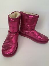 UGG AUSTRALIA WOMENS Size 5 SPARKLE PINK SEQUIN CLASSIC SHORT BOOTS