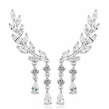 Sterling Silver Pltd Crystal Leaf Ear Cuff Climber Crawler Stud Earrings UK 239