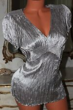 (S6) M&S Super shiny crinkly silver faux satin shirt blouse top size 16