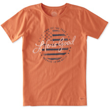 Life is Good Women's Crusher T Land of the Free on Coral Orange-Medium