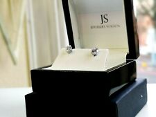 WHITE GOLD FINISHED ROUND CUT CREATED DIAMOND STUD EARRINGS GIFT BOX INCLUDED