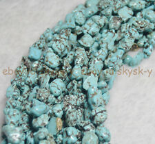 "100% Real Natural Turquoise 6-10MM Gemstone Nugget Loose Beads Strand 15"" AA"