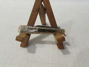 Vintage MSR Co. Gold Tone Engravable 2 Blade Folding Pocket Watch FOB Knife
