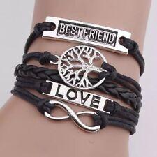 Hand Woven Bracelet BLACK BEST FRIEND LOVE Leather Rope Bracelet