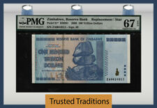 TT PK 91* 2008 ZIMBABWE 100 TRILLION DOLLARS REPLACEMENT STAR NOTE PMG 67 PQ WOW