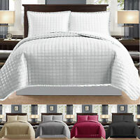 3 Piece Quilted Bedspread Embossed Bed Throw Double King Size Comforter Bedding