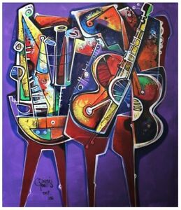 "Simeon Gonzales Acryl Painting ""  Guitarra y Flauta  """