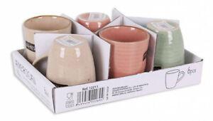 6x Decorated coffee glasses espresso cermaic porcelain MUGS 90ml AMERICAN