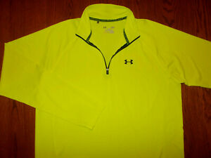 UNDER ARMOUR 1/4 ZIP LONG SLEEVE YELLOW LOOSE FIT SHIRT MENS LARGE EXCELLENT