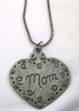 Halloween Gothic Goth MOM Silver Heart Pendant with Silver Ball Chain Necklace