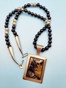 Jay King DTR Sterling Silver Black Beaded Necklace & Pendant With Natural Stone