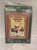 Bucilla Christmas Is Love Heirloom Embroidery needlepoint Kit Jeweled Wall Panel