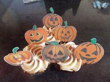 12 PRECUT Edible Halloween Pumpkins wafer/rice paper cake/cupcake toppers