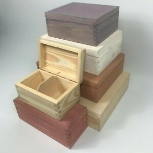 Personalised Engraved Compartment Box Stained/Plain Wooden Small Large Tea Box