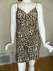 Women Stretch Wrap Dress Beach Cover-up Brown/Black Leopard Pattern New