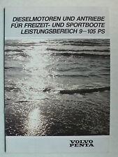 Prospekt/Beschreibung Volvo Penta Dieselmotoren/Antriebe 9-105 PS, 1983, 10 S.
