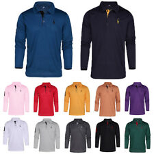 Mens Long Sleeved Polo T-Shirt Long Sleeve Classic Slim Tops Comfy Casual Shirts