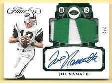 2017 Panini Flawless Emerald #JN Joe Namath Nameplate Patch Autograph #2/2