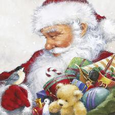 Christmas 20 Paper Lunch Napkins LOVING SANTA Gift Bird Festive Serviettes