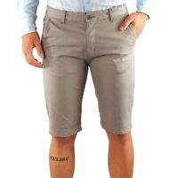 Bermuda Uomo Cotone Slim Fit Grigio Jeans Pantalone Corto Shorts Pantaloncini