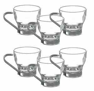 Set of 6 Metal Handle coffee Glass Espresso expresso Cups 80ml Small Expresso