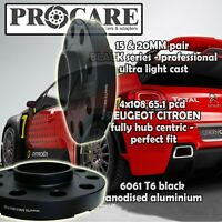 PEUGEOT CITROEN 20MM ALLOYWHEEL SPACER PAIR 4X108PCD 65.1 by PROCARE