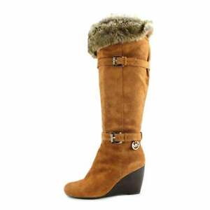 MICHAEL KORS LARA RARE GOLD LOGO FUR TALL WEDGE BOOTS 9 I LOVE SHOES WORN ONCE
