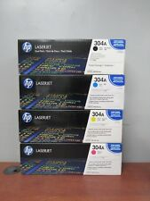 4 Genuine HP LaserJet 304A Print Cartridges: Black Cyan Yellow Magenta [32F]