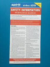 SPIRIT AIRLINES SAFETY CARD--AIRBUS 319