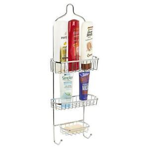 3 Tier Free Standing Chrome Shower Caddy Bathroom Storage Rack Shelf Organiser