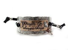 "Adjustable Two Tone Inscription ""Prayer Changes Things"" Inspirational Bracelet"