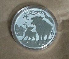 2021 Australia.1oz Lunar Ox Series III Silver Bullion Coin 99.99% Silver