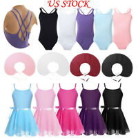 Kids Girls Ballet Gymnastics Leotards with Tutu Wrap Skirt Dance Dress Dancewear