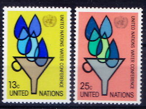 UNO United Nations New York 1977 MNH 2v, Water conference, Conservation