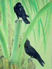 Original Pastel Drawing Two Crows & Palm Tree Blackbird Sally Porter Wildlife