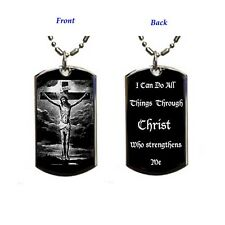 I Can Do Through Christ+jesus 2 sided-Dog Tag Necklace