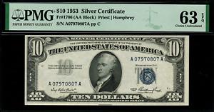 1953 $10 Silver Certificate FR-1706 - Graded PMG 63 EPQ