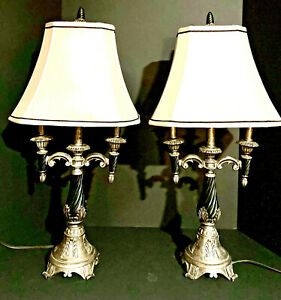 Charleston Style Table Lamps, Footed Base, Cream Bell Shades