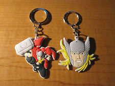 (2) Mighty THOR Keychains Key Chain PVC Rubber FOB with Metal Ring