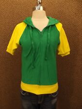NEW Vtg 80s Green Yellow Terry Cloth Sporty Hooded Zip Down Raglan Summer Top M