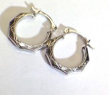 "NEW   Ornate 1/2"" Solid 10K White Gold Hinged  Hoop Earrings"