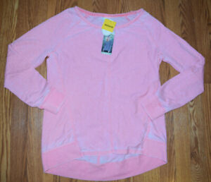 Green Tea Sweat Shirt Frosted Pink Striped Pullover  Size Large L NWT Womens